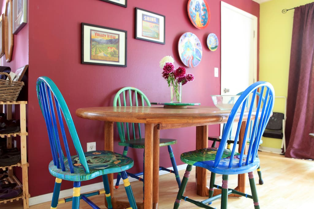 Cheery dining area