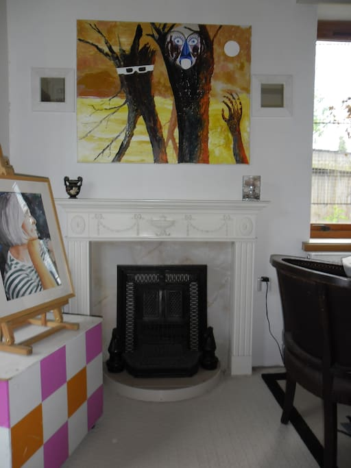 Victorian fire surround (decorative only!) and paintings