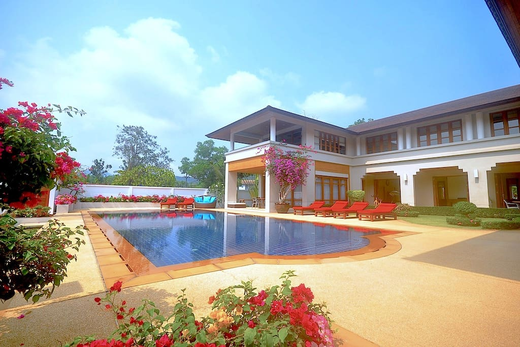 The villa focus is the huge 14m x 6m pool