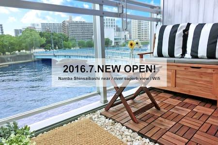 ★Namba Shinsaibashi 3min / river superb view/Wifi★ - Ōsaka-shi - Apartemen