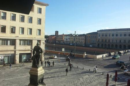 The appartment is located in the main square of Pisa, Piazza Garibaldi, and you can see it from the window, also the Arno. IS THE CENTER, SO IT'S NOISY! The appartment is in the 2nd floor, there is 2 rooms, bathroom and the kitchen.