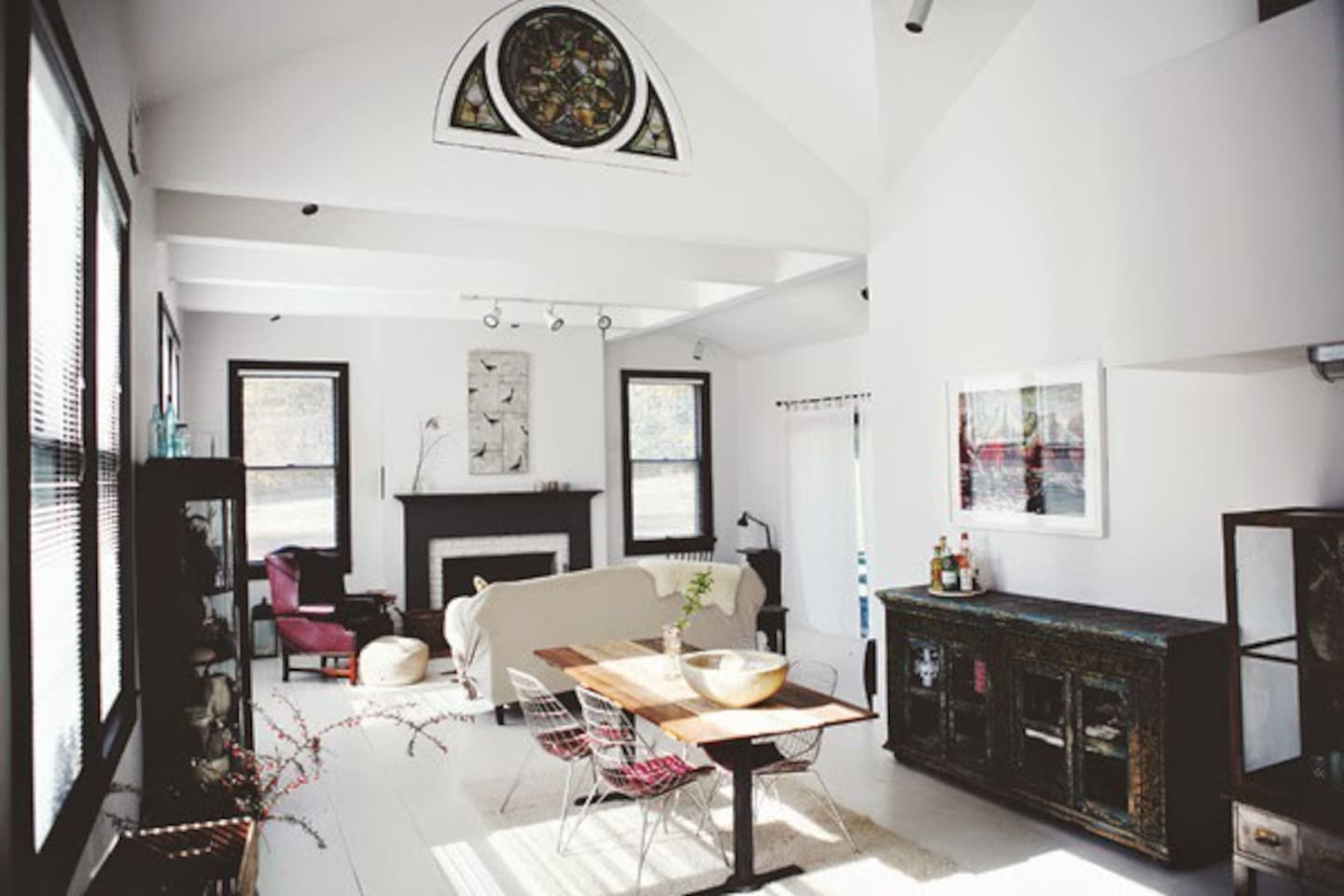 The bright and airy living/dining area
