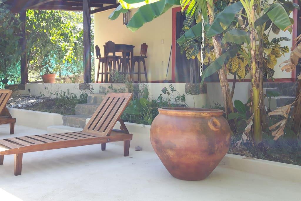 Custom built lounge chairs, new pots. 1/1/16