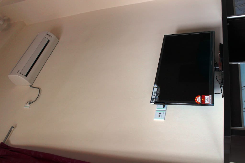 New LED TV with Air Conditions Living Room