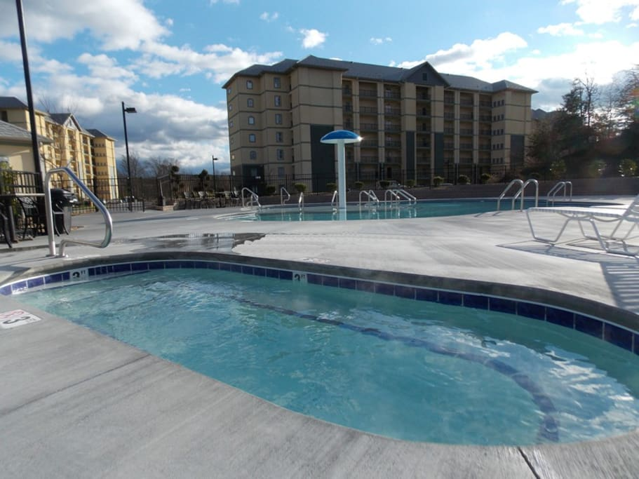 Year-Round Hot Tub in the Pool Area with room for plenty of friends!