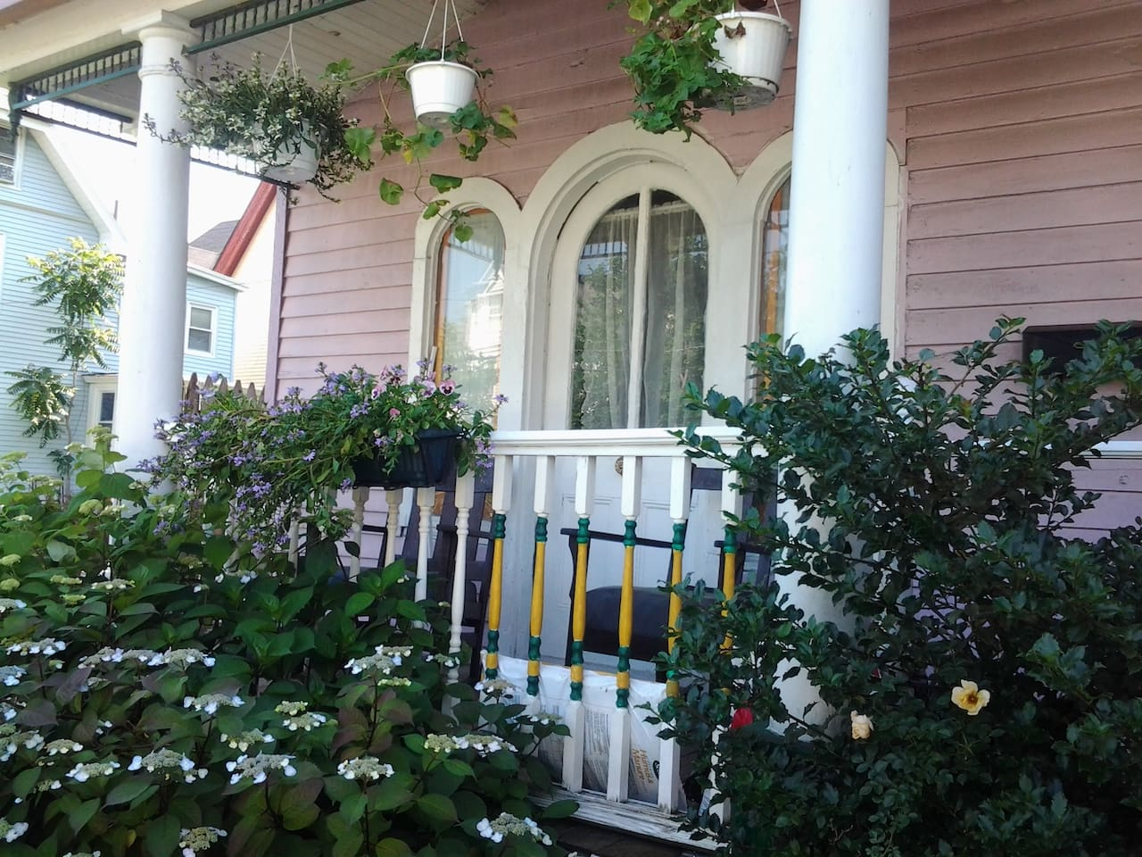 Front porch of cottage with original 1850's door