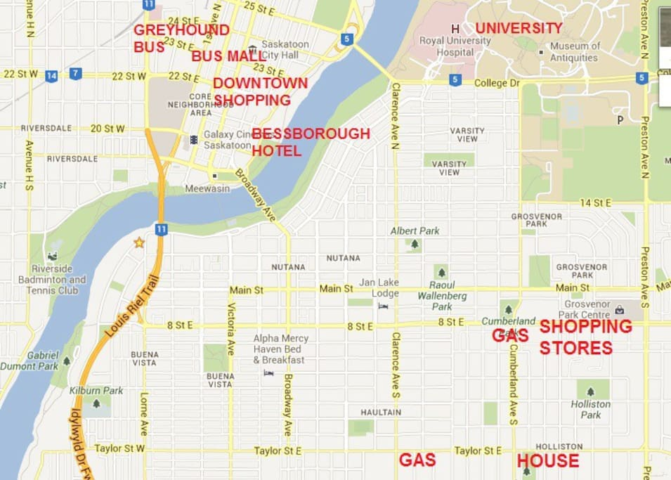 Saskatoon map - our house in bottom right corner - you can see river and downtown area