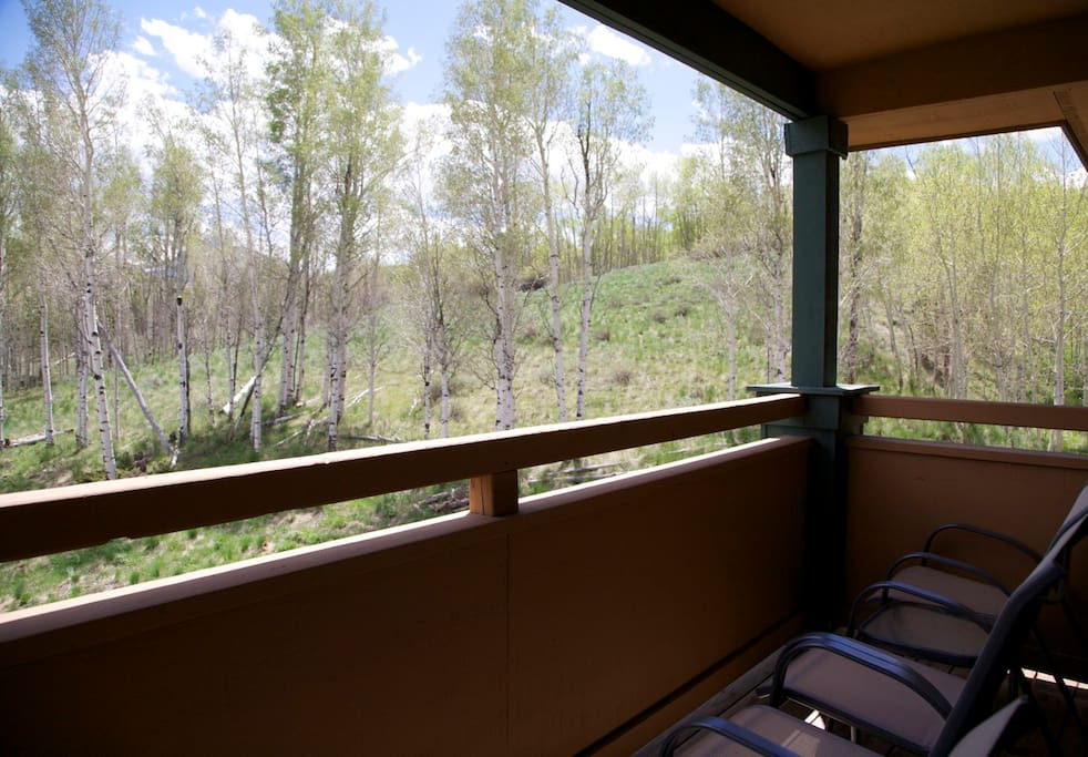 Seating for 4 on the back deck with amazing aspen grove views
