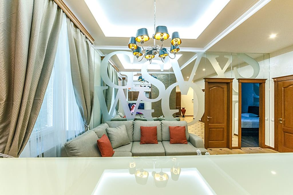 Livingroom with mirror wall.