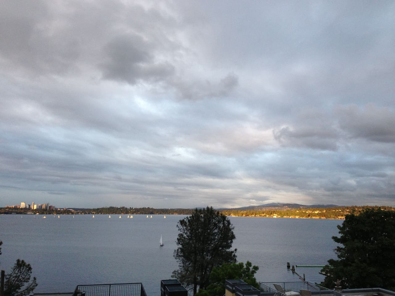 Sweeping views of Lake Washington and the Bellevue skyline