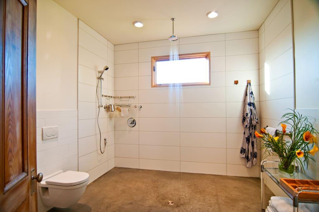 upper - open wetroom with overhead shower