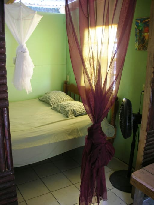 the bedroom with a double bed and mosquitonet