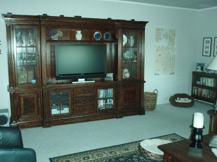 Flatscreen TV with huge DVD library of movies