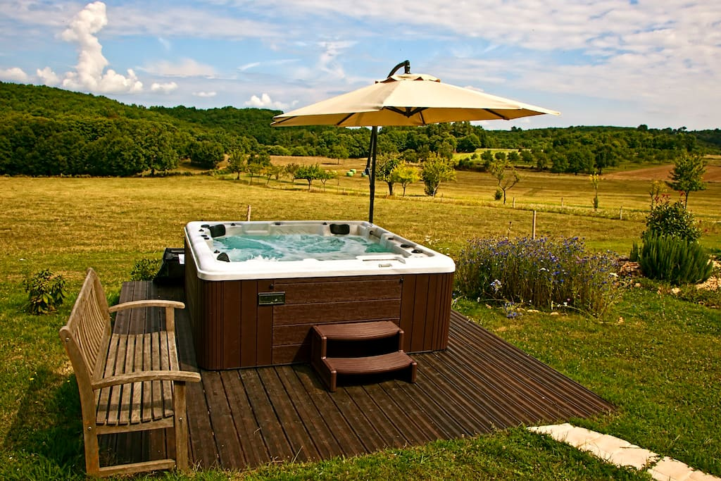 Relax in the Jacuzzi over looking the gorgeous Dordogne countryside