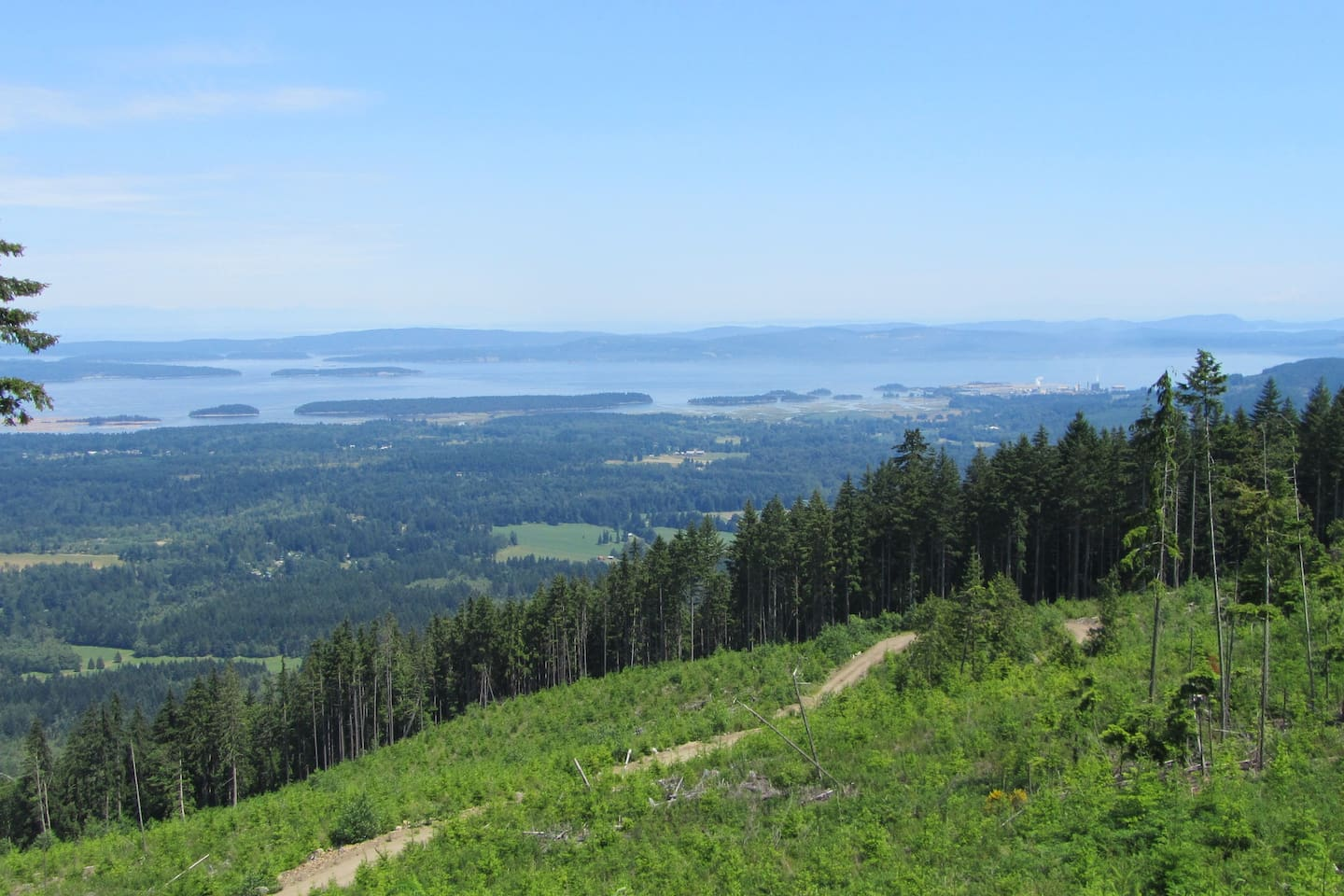 An outdoor paradise.View of the Gulf Islands from Mount Sicker. A short bike ride away from my home