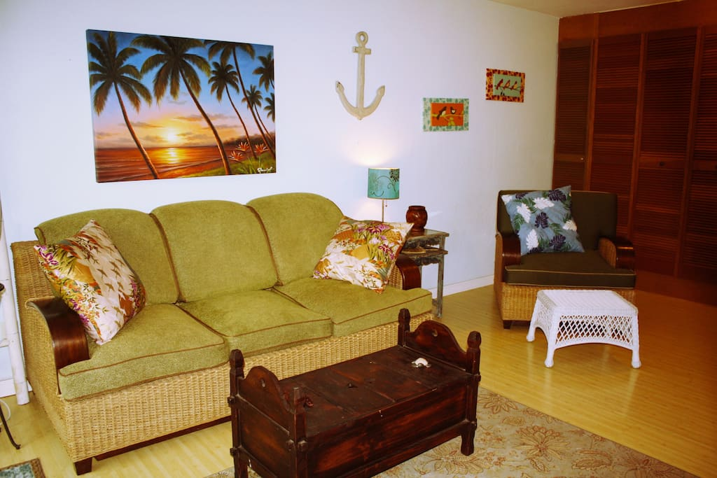Tropical rattan furnishings and Hawaiian decor by local artists