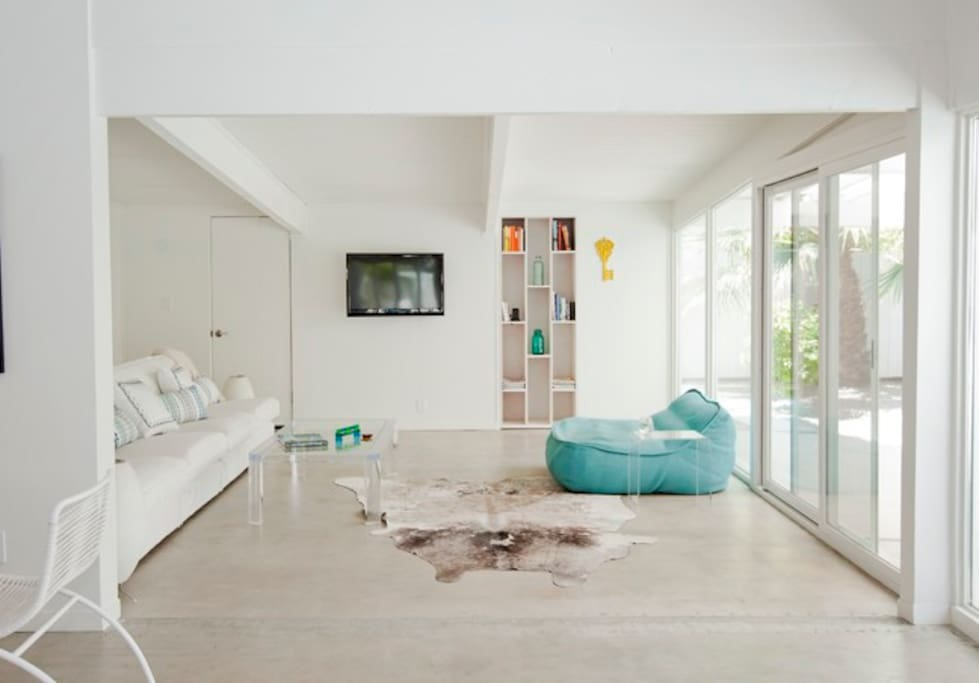Polished concrete floors and lots of light