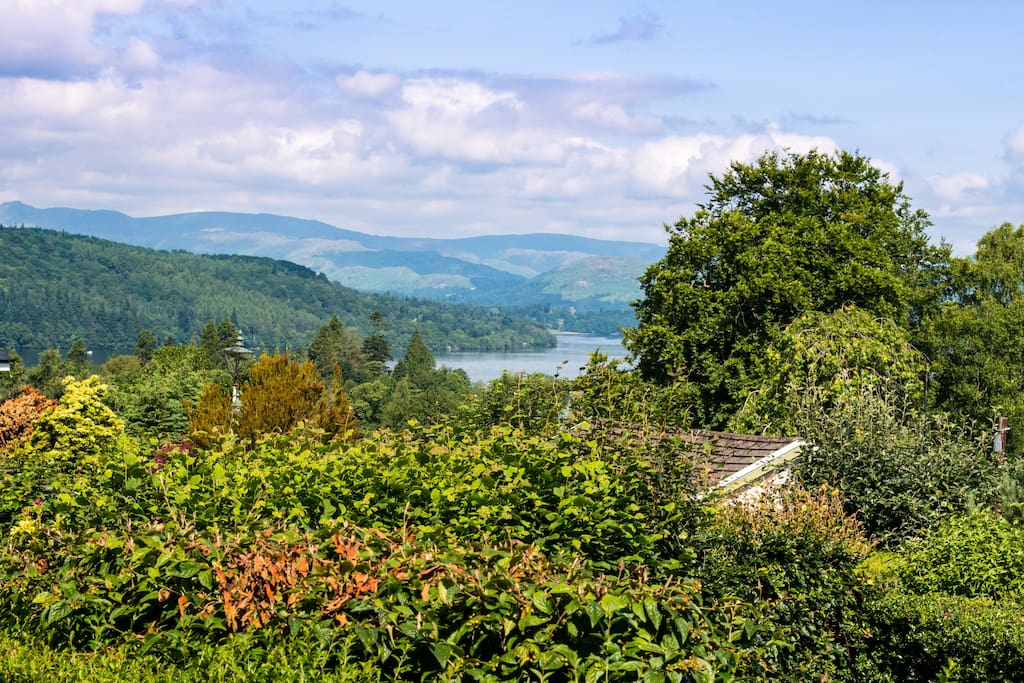 A view of Lake Windermere to the fells that was taken from The Poppies room.