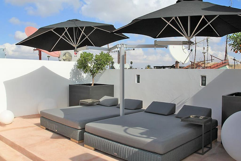 Sun loungers on the terrace