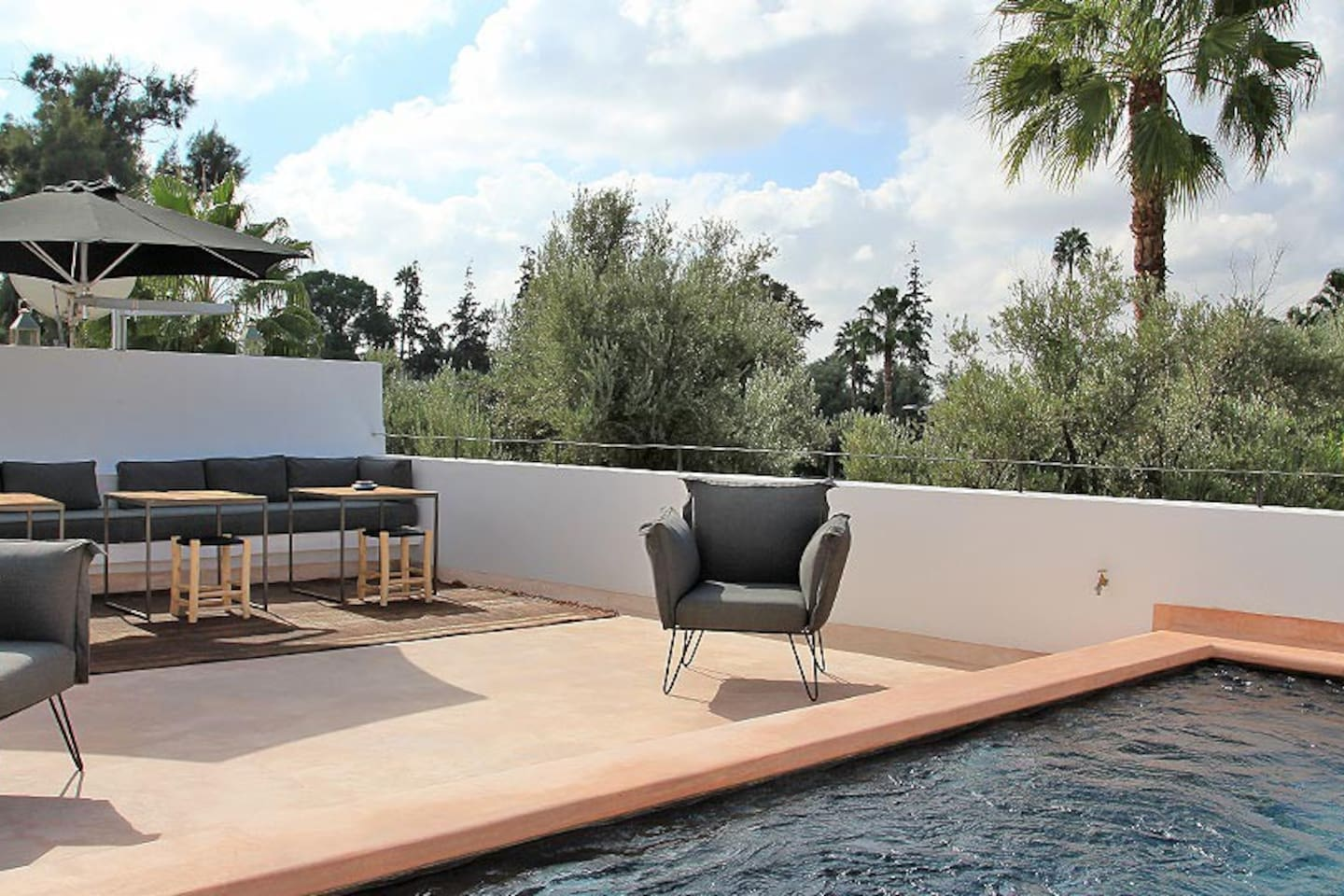 Terrace with heated pool