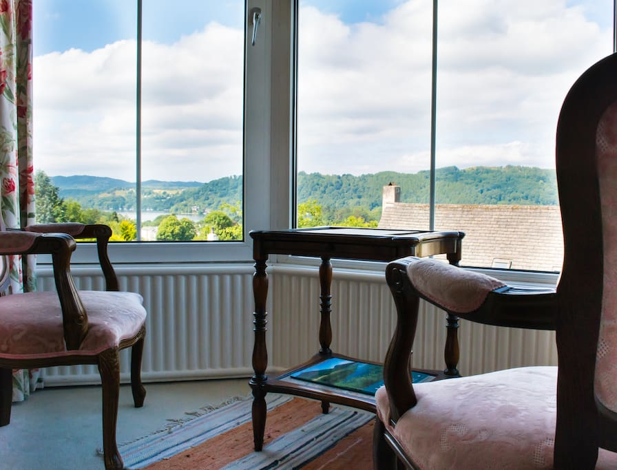Why not take a seat by the huge triple bay windows in The Langdale and enjoy stunning views of Lake Windermere and the fells? Tea/coffee making facilities are available for you to make and sup a cuppa by the windows.
