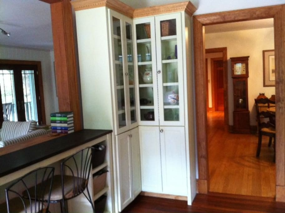 From kitchen looking into great room, dining room and hallway beyond to bedrooms and bathrooms