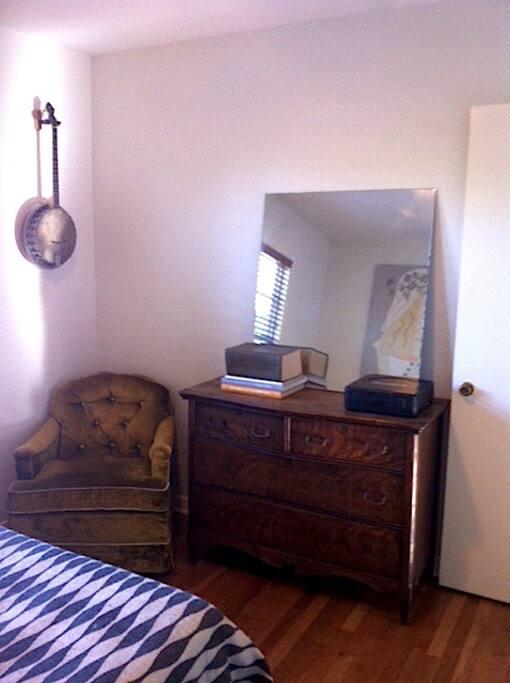 View of bedroom from closet corner