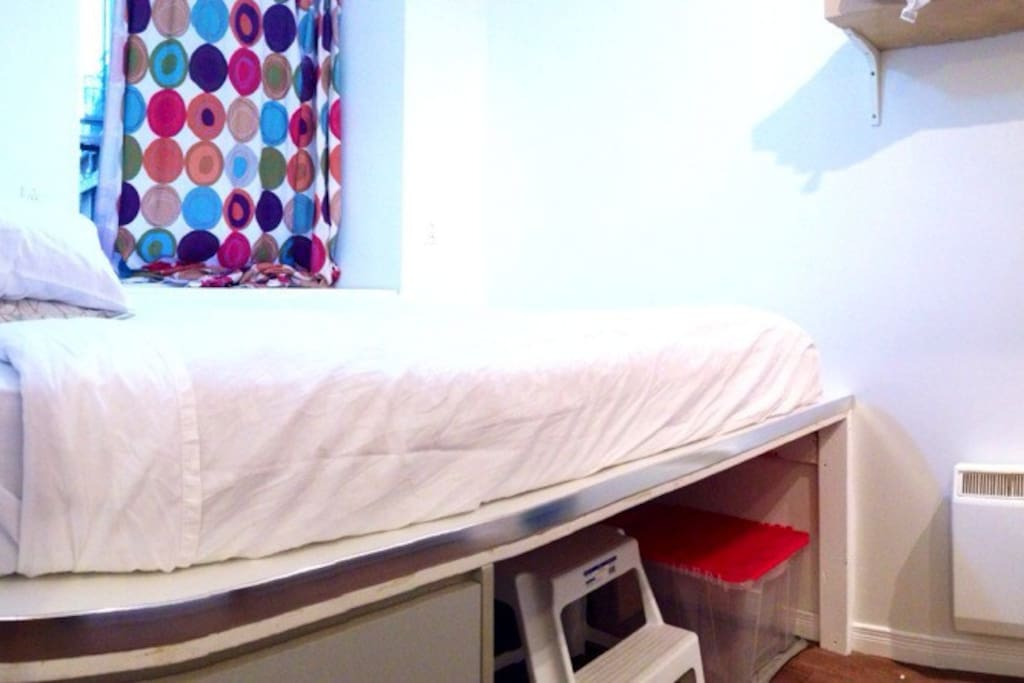 The loft-style double bed