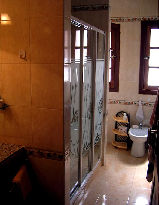 The bathroom, with the big shower.