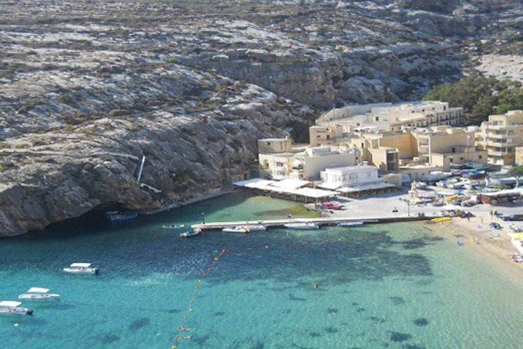 view from the terrace down to Xlendi bay