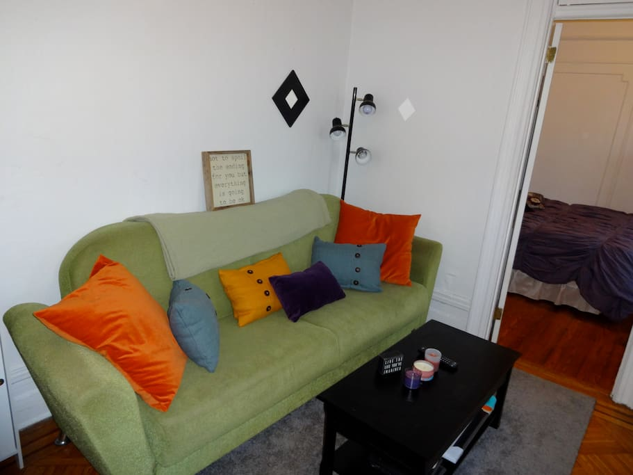 Living room - where I will stay - and is yours to use for the vast majority of the day!