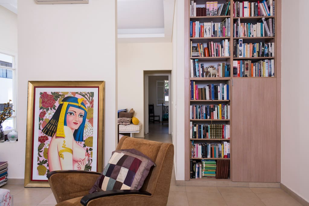 Cleopatra and books, showing the way from living room to study and the bedrooms beyond