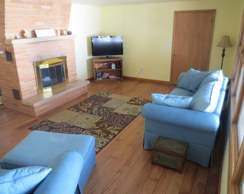 Livingroom has a HD TV with DVD/Blu-ray player & a small movie library. Fireplace not operational.