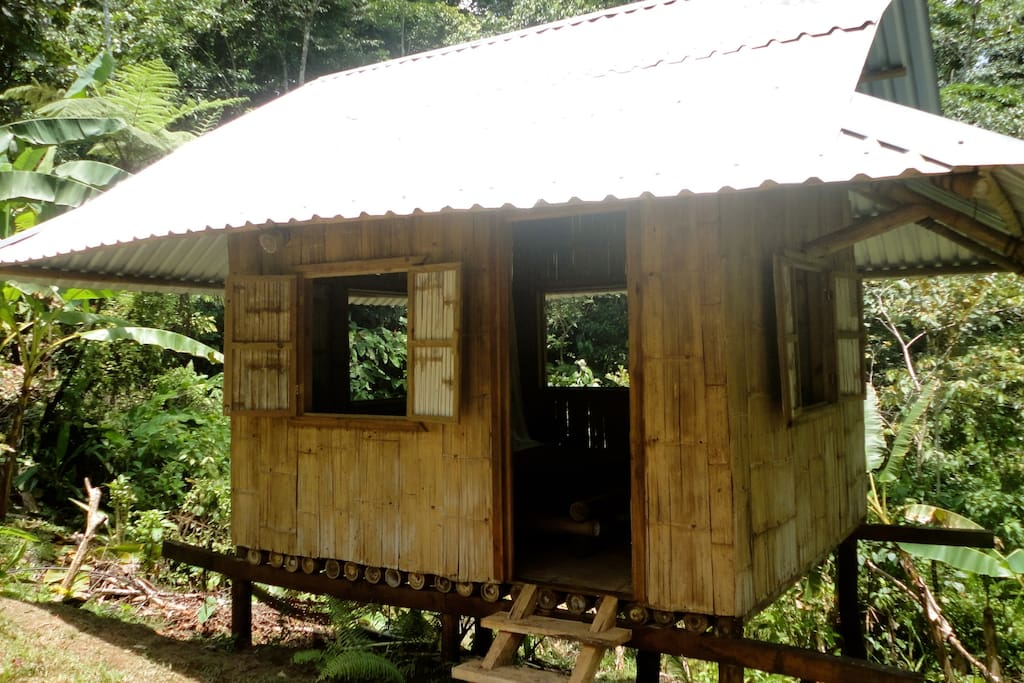 Cabina Túcan overlooks three other cabinas, is nestled in the Food Forest and is made from locally sourced bamboo.