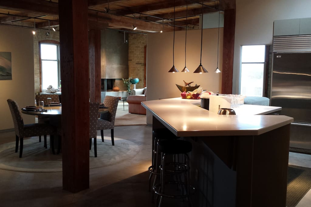 Sit at the kitchen island while good friends cook.