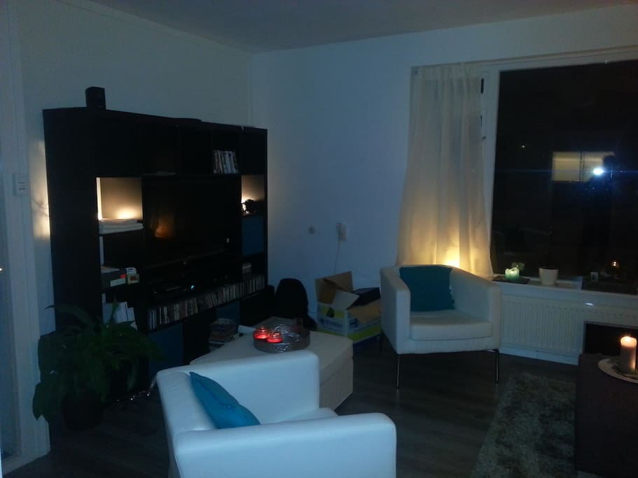the living room with flatscreen TV, DVD and stereo set