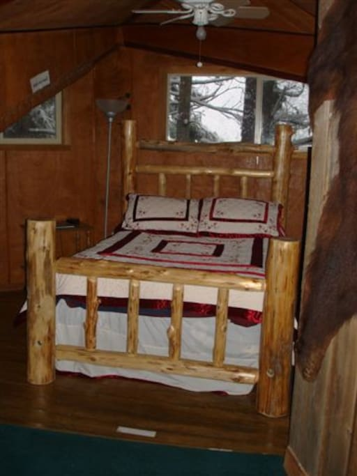 Hand-made Western Red-Cedar Log Bed in Second Floor Master Bedroom Suite
