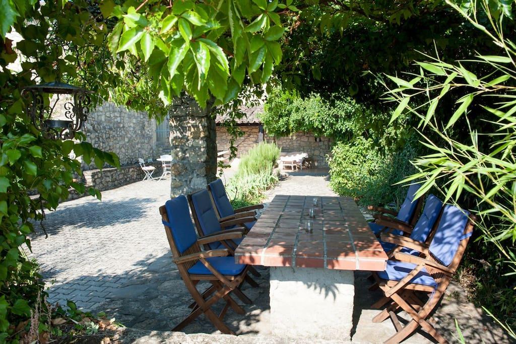 Enjoy meals around the stone table