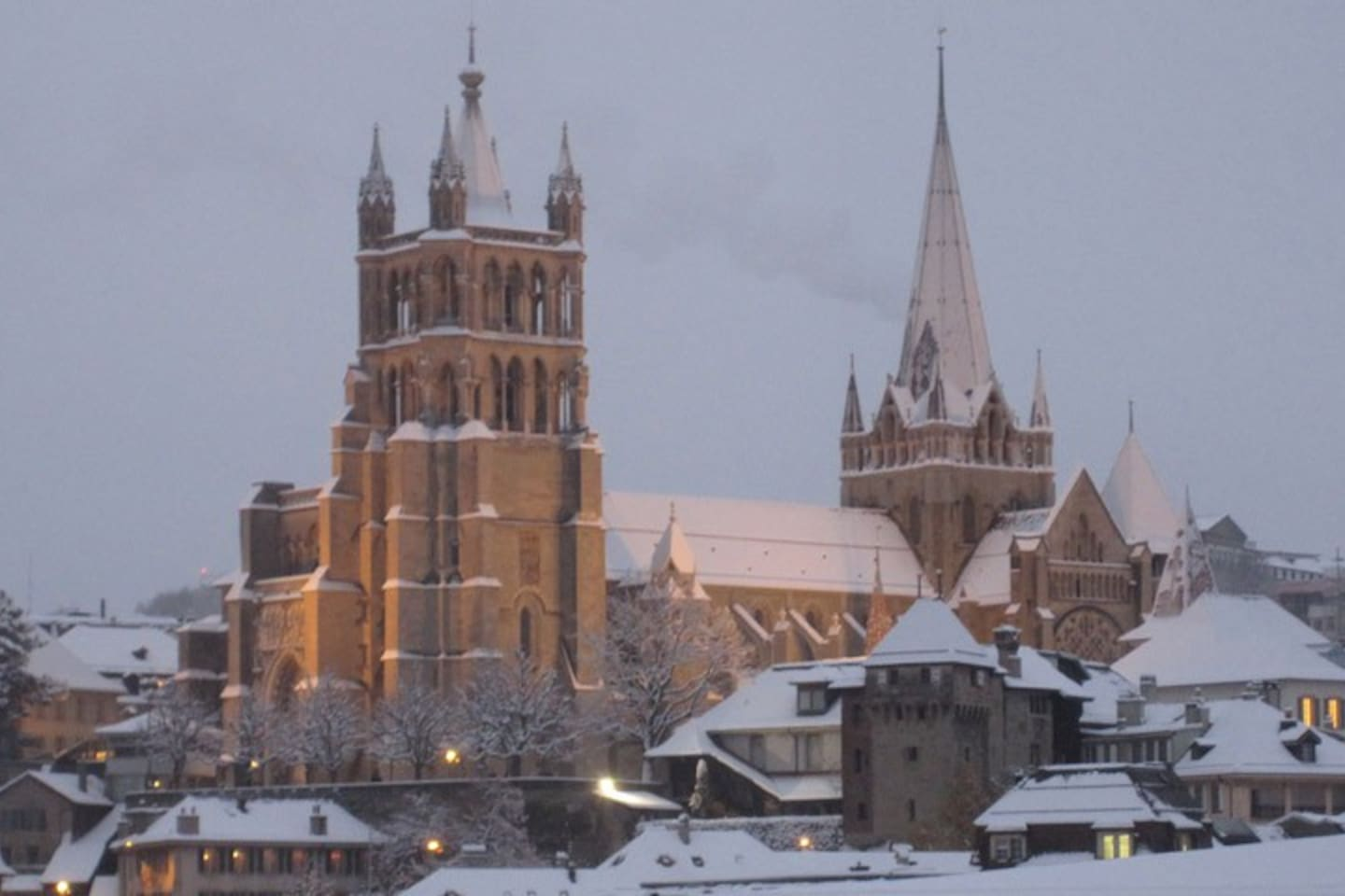 View from the room on the cathedral in winter