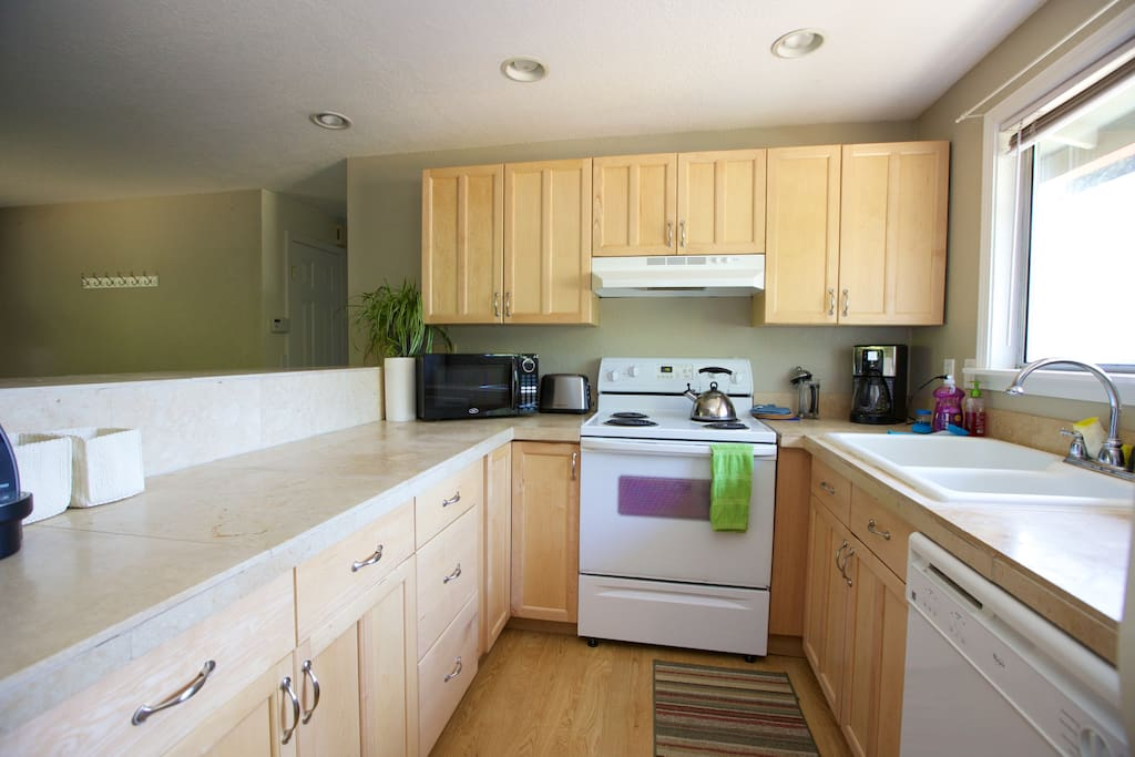 Broad, deep kitchen counters make for easy cooking and cleaning