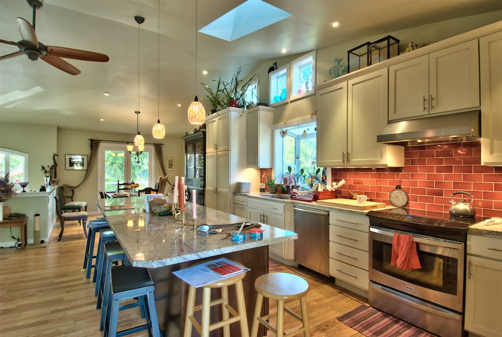 Kitchen, with dining room on far side.