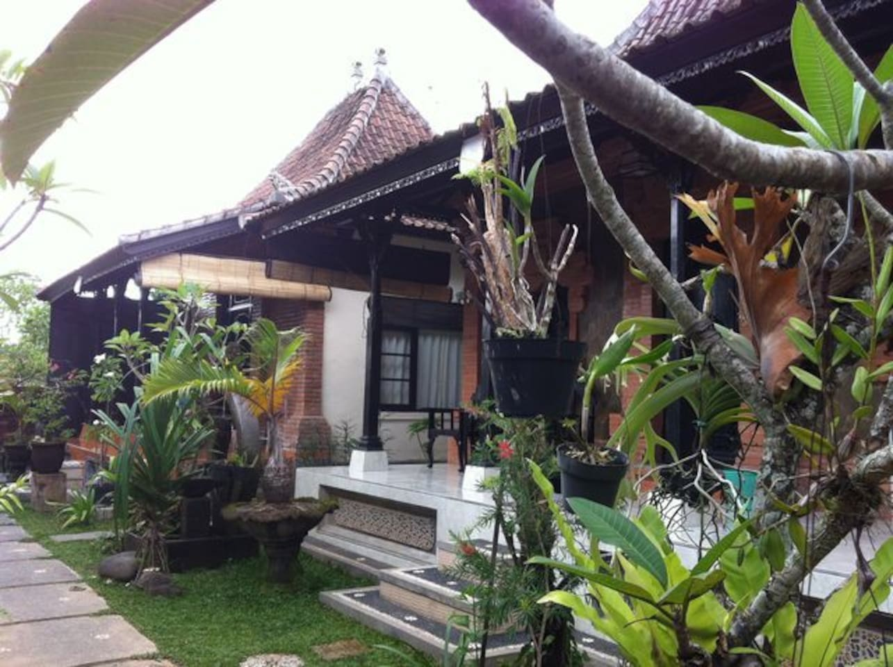 Typical Balinese houses with garden