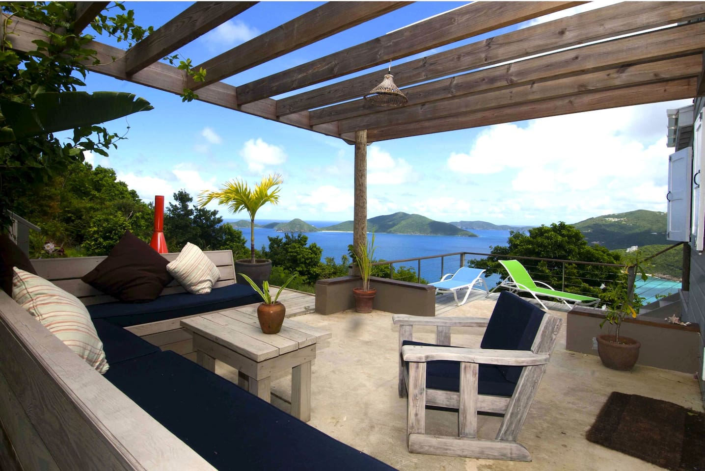 Secluded pergola with outdoor seating and overlooking the chain of islands