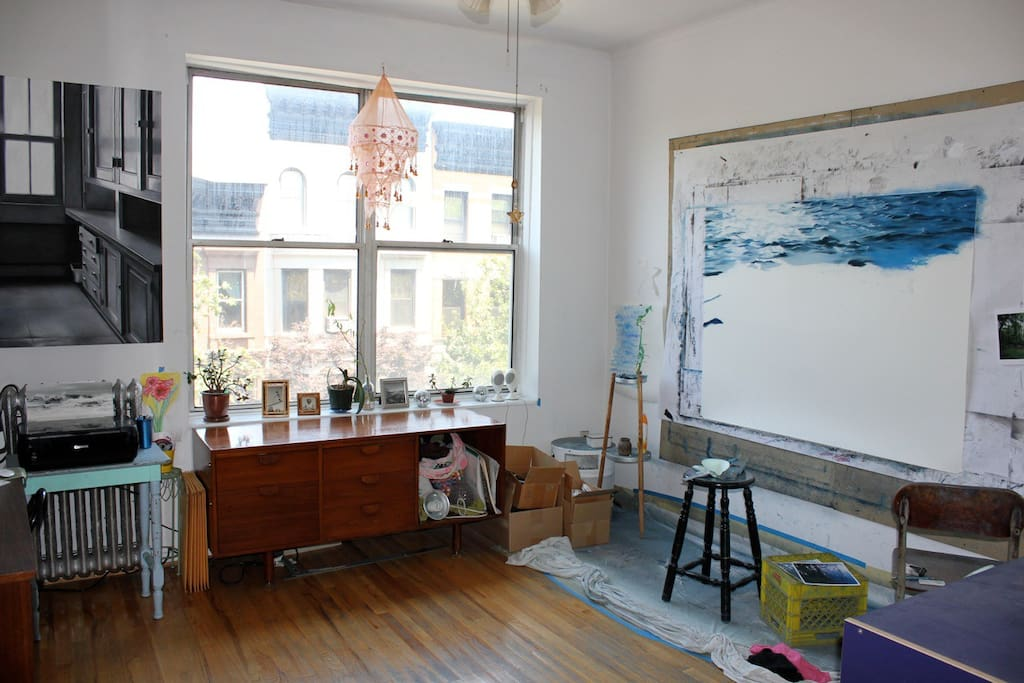 My office/studio space, which is yours to use as an office, floor space for yoga, wall space for art, etc!