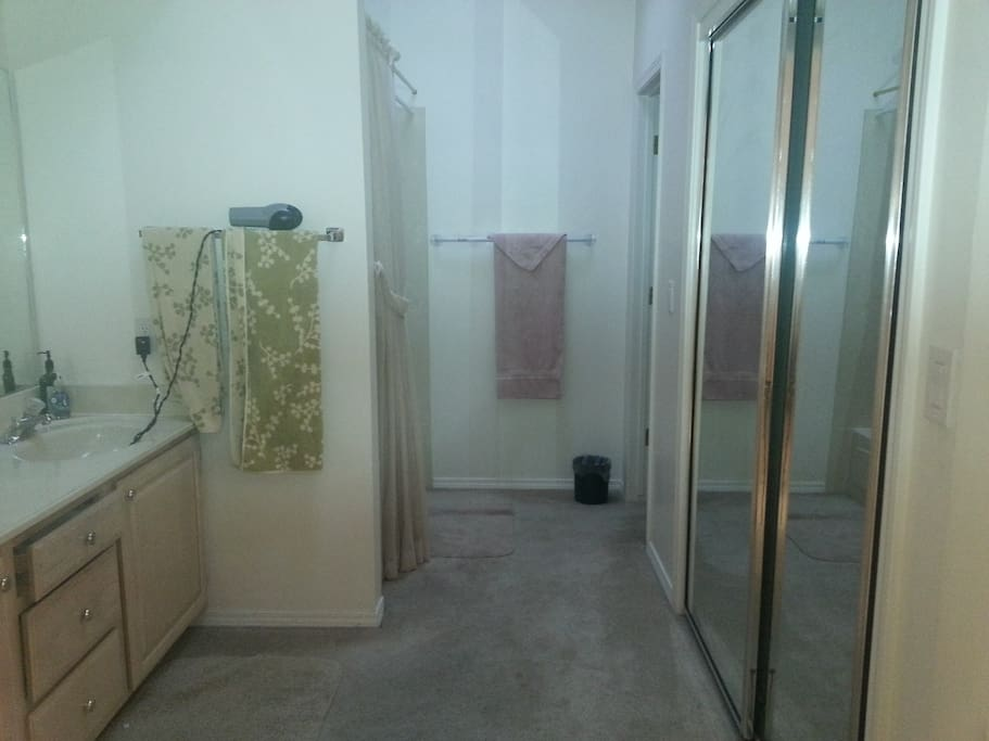 Large, spacious full bath with a private room for commode.  Skylight. Large walk-in closet.
