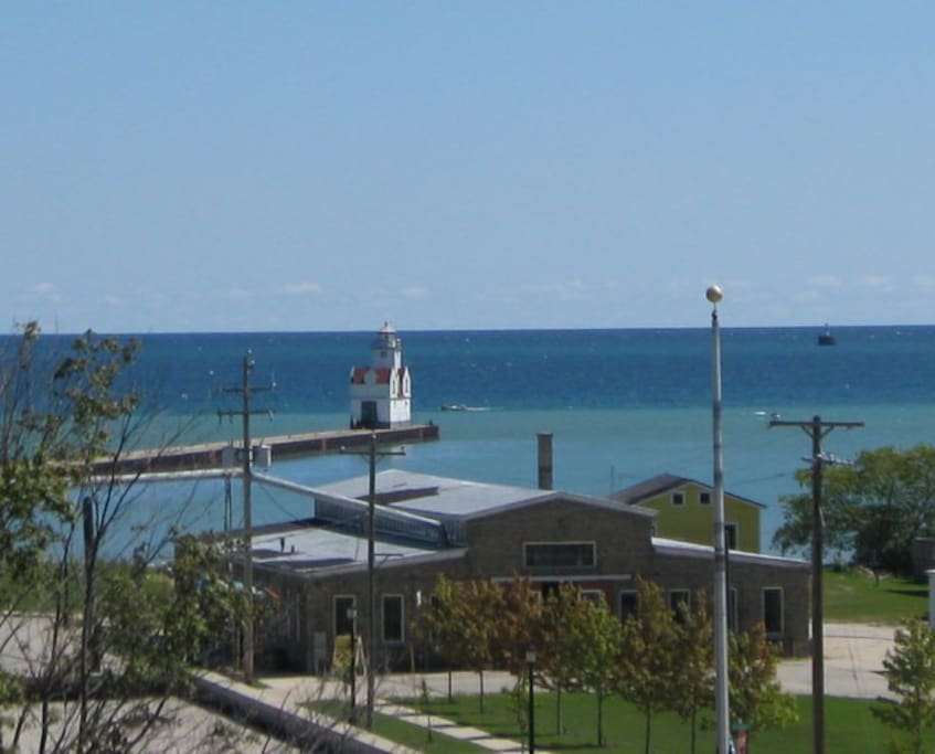 View of Kewaunee Lighthouse from the deck