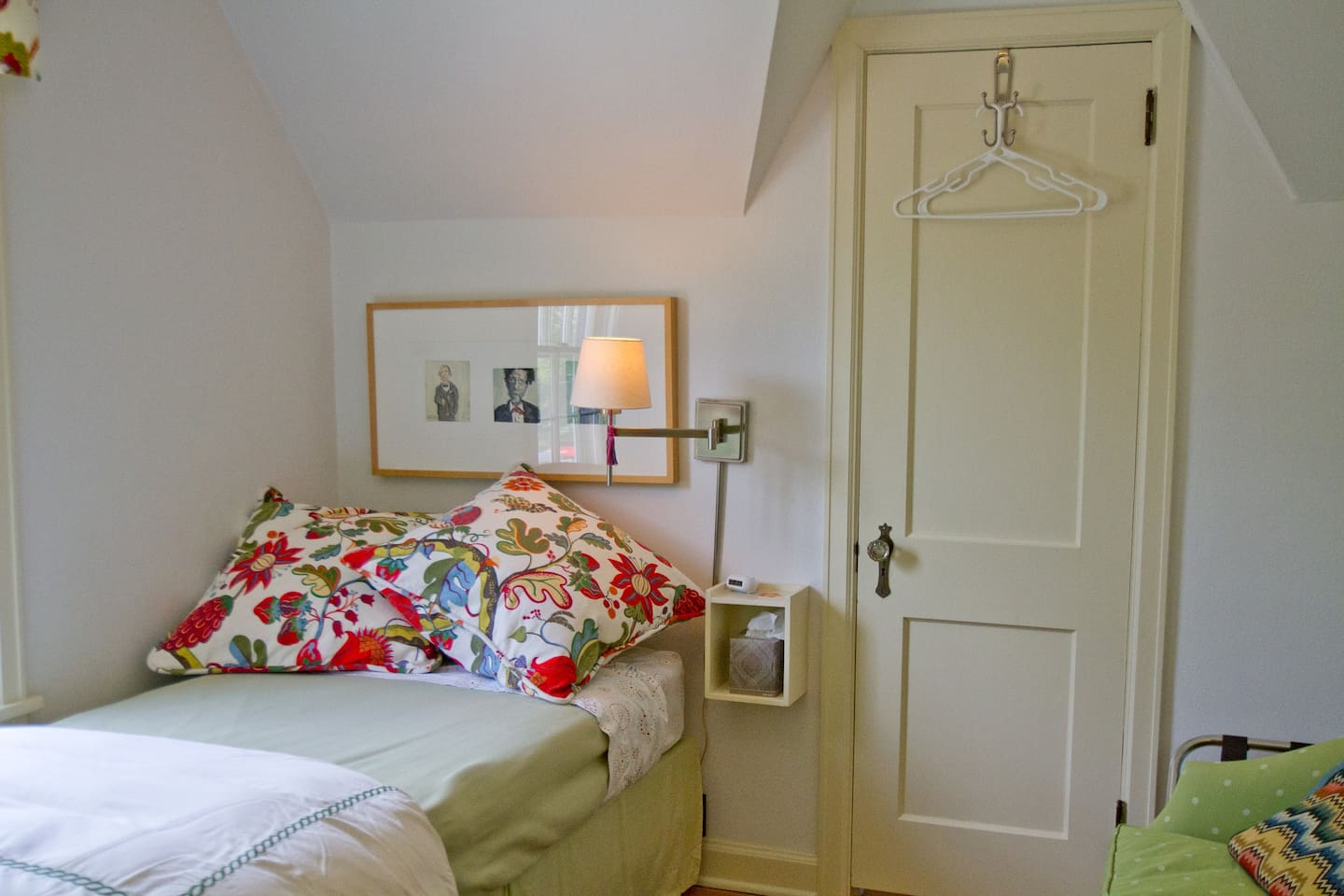 Your private room with NEW XL twin bed, loveseat, and desk.