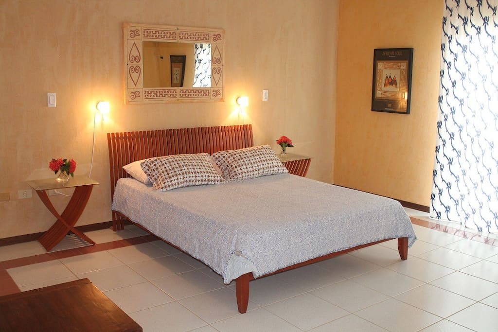 Comfortable bedroom with reading lights, mosquito screens, air-conditioning