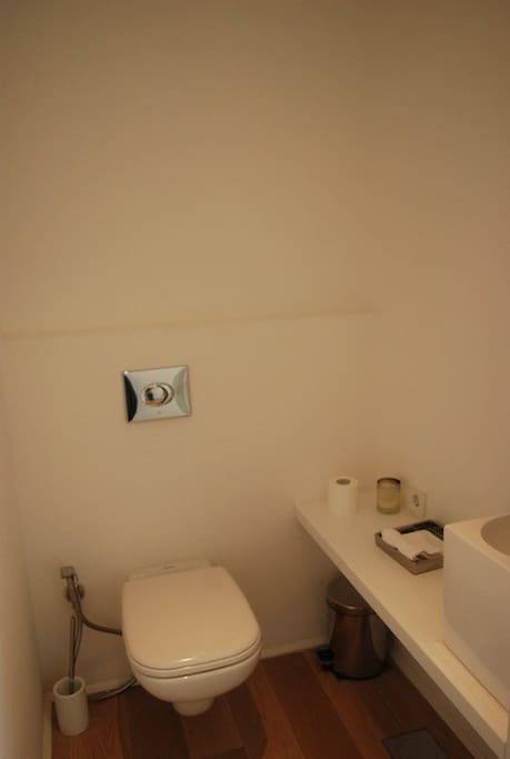 WC - Including Toilet shower spray & small washbasin