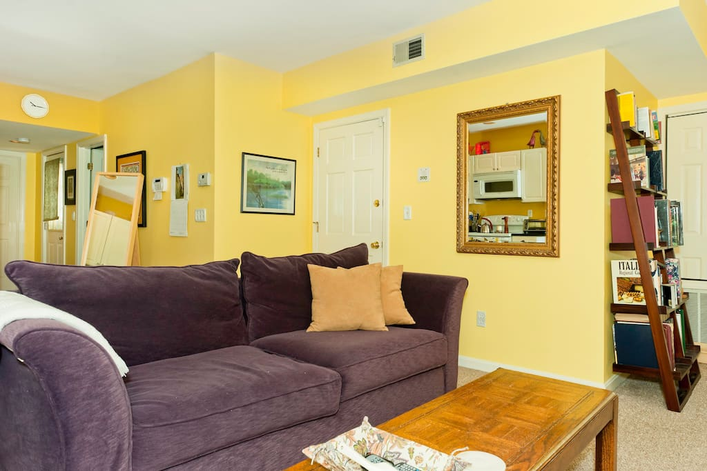 Comfortable sofa in living room. Alarm system in house.